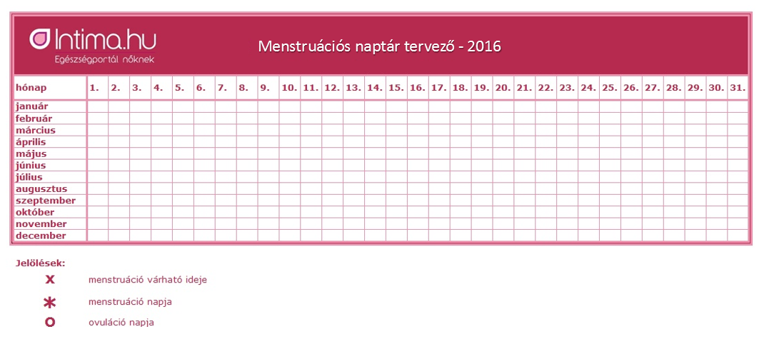letöltés naptár Letölthető menstruációs naptár 2016 letöltés naptár